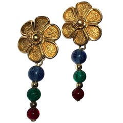 Grosse Germany 1980s Flower Earrings with Red, Blue & Green Beads