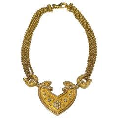 Grosse Germany 1980s Gold & Rhinestone Necklace