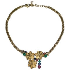 Grosse, Germany 1980s Red, Blue & Green Bead Floral Cluster Necklace