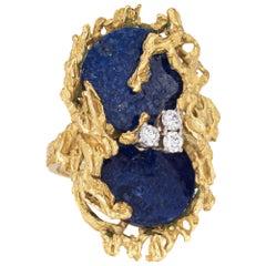 Grosse Germany Lapis Lazuli Diamond Ring 1972 Vintage 18 Karat Gold Brutalist