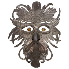 Grotesque Mask in Embossed Silvered Metal, 1970s