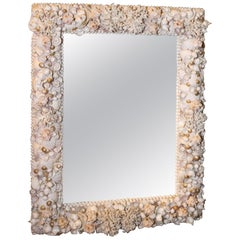 "Grotto Style Shell Decorated Mirror 40"" x 30"" Great Composition, Detail & Depth"