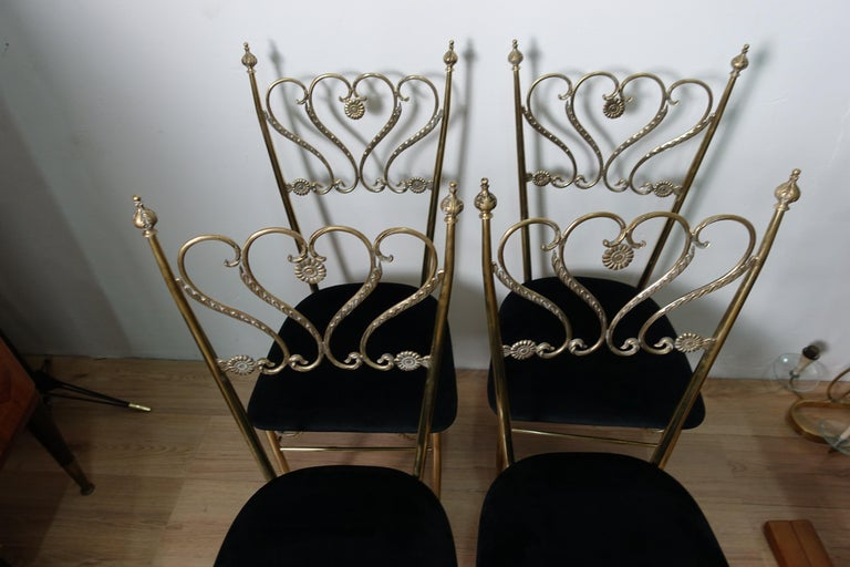 Group 4 Brass Chiavarina Chairs In Good Condition For Sale In Catania, IT