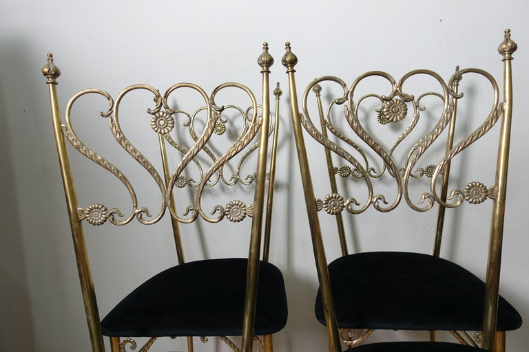 Mid-20th Century Group 4 Brass Chiavarina Chairs For Sale