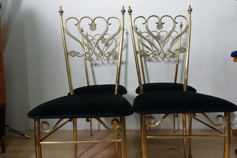Group 4 Brass Chiavarina Chairs For Sale 1