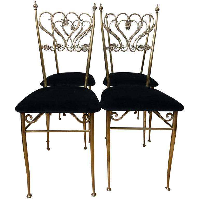 Group 4 Brass Chiavarina Chairs For Sale