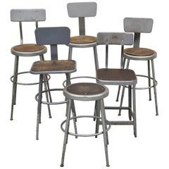 Group Lot of Six Vintage Industrial Steel Metal Drafting Work Stools Chairs