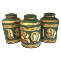 Group of 19th Century English Green Tole Tea Tins by Parnall & Sons LTD, Bristol
