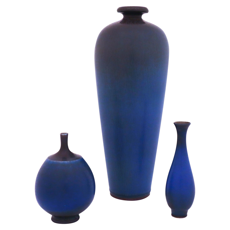Group of 3 Blue Stoneware Vases, Berndt Friberg, Gustavsberg