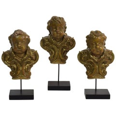 Group of 3 Italian 18th Century Baroque Ornaments with Angel Heads