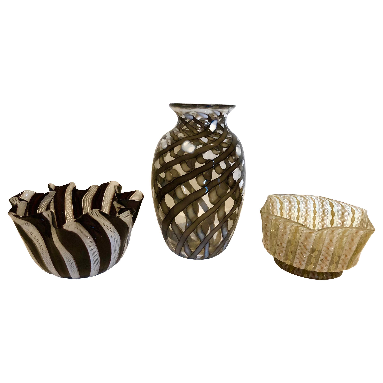 Group of 3 Italian Murano Vases, including Venini
