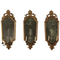 Group of 3 Luois XIV Wall Mirror Iron and Wood, 18th Century