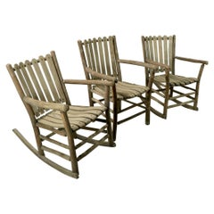 Group of 3 Old Hickory Furniture Rocking Chairs and Armchair