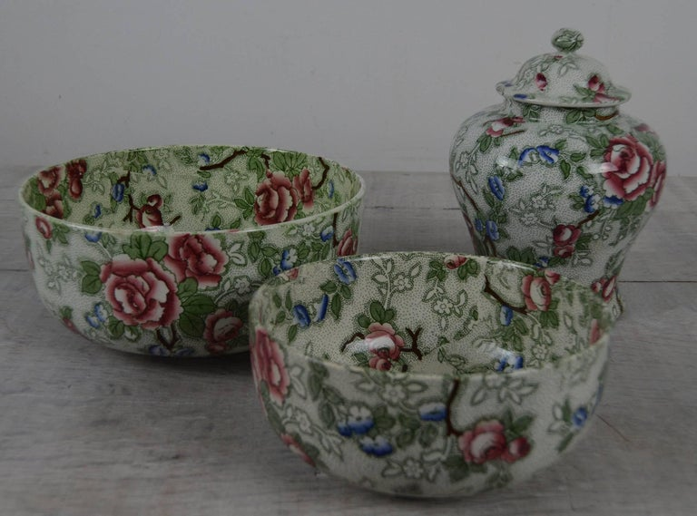 Beautifully decorated bowls and cover vase