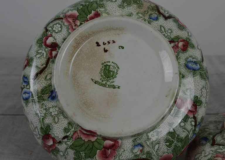 Glazed Group of Three Pieces of Chinese Rose Pottery, English, 1920s For Sale