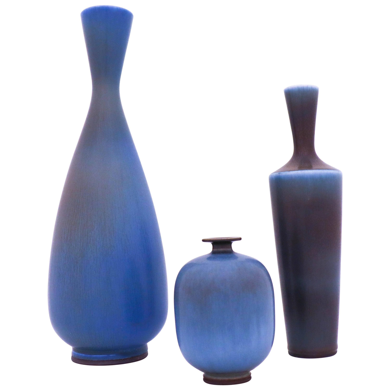 Group of 3 Stoneware Vases, Berndt Friberg, Gustavsberg