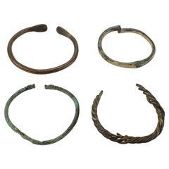 Group of 4 Ancient Roman Bronze Bracelets