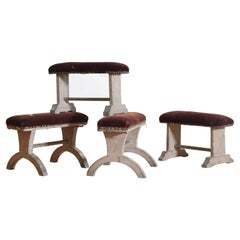Group of 4 Italian Neoclassic Painted and Upholstered Kneeling Benches, 19th C