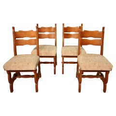 Group of 4 Rustic Northern European Chairs, 20th Century