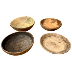 Group of 4 Swedish 19th Century Wooden Folk Art Bowls