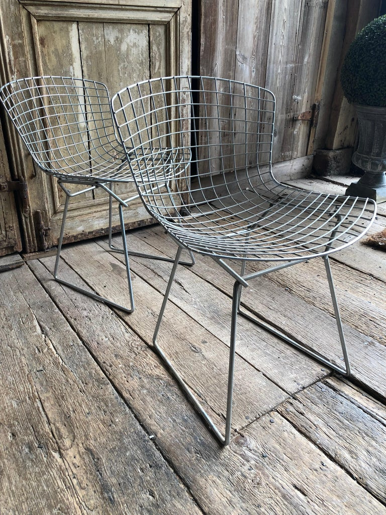 American Group of 5 Bertoia Side Chairs in Chrome For Sale