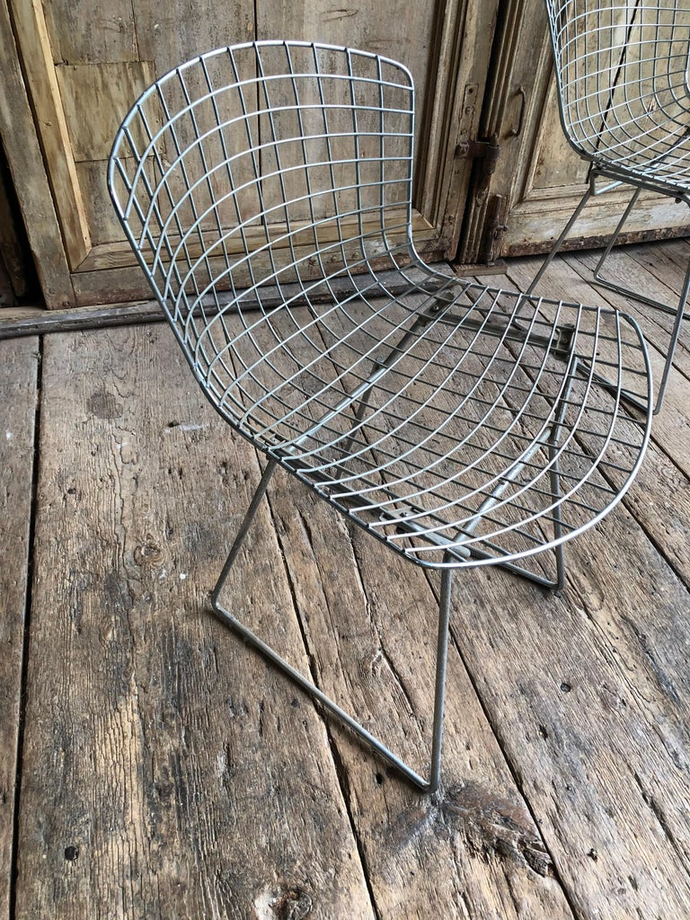 Group of 5 Bertoia Side Chairs in Chrome In Good Condition For Sale In Doylestown, PA