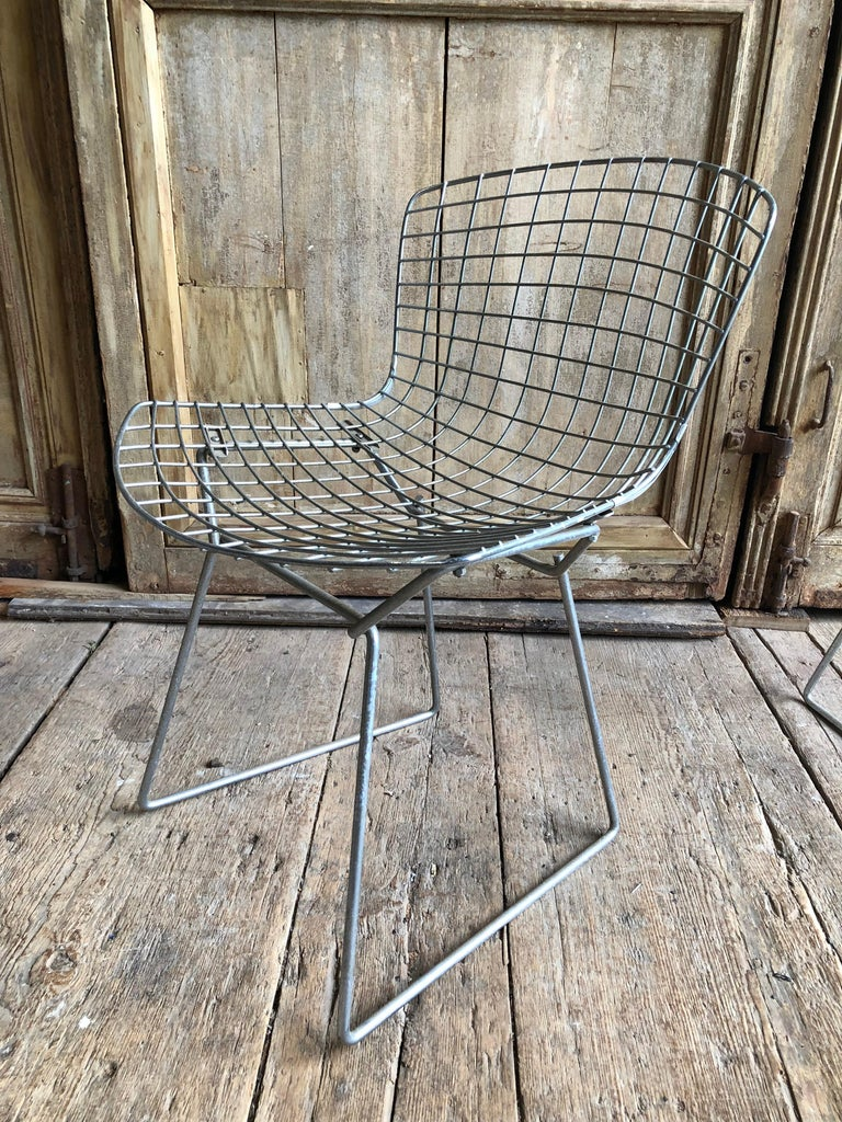 Group of 5 Bertoia Side Chairs in Chrome For Sale 1