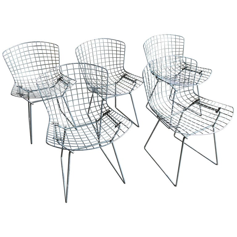 Group of 5 Bertoia Side Chairs in Chrome For Sale