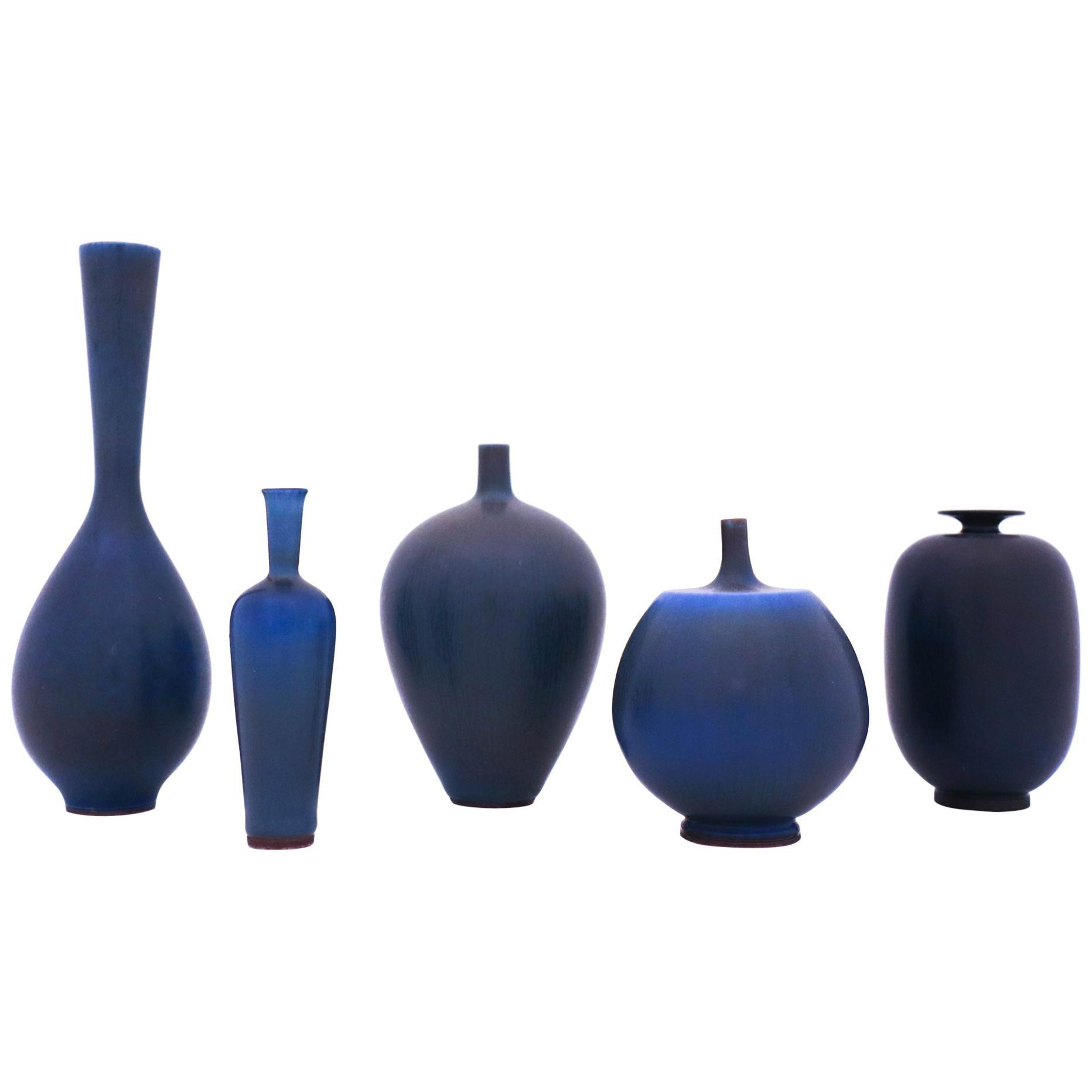 Group of 5 Blue Stoneware Vases, Berndt Friberg, Gustavsberg