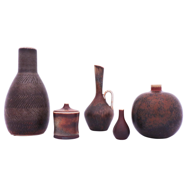 Group of 5 Brown Stoneware Vases, Carl-Harry Stålhane, Rörstrand, 1950s-1960s
