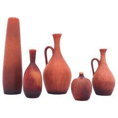 Group of 5 Brown Stoneware Vases, Carl-Harry Stålhane, Rörstrand, 1950s-1960s