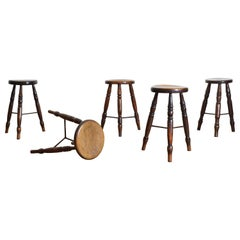 Group of 5 English Oak and Iron Joint Pub Stools Late 19th Century (4 available)