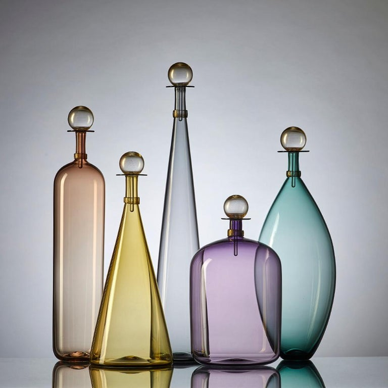 Contemporary Group of 5 Modernist Hand Blown Glass Bottle Vases in Smoky Colors by Vetro Vero For Sale