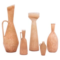 Group of 5 Stoneware Vases Beige / Yellow, Carl-Harry Stålhane, Rörstrand, 1950s
