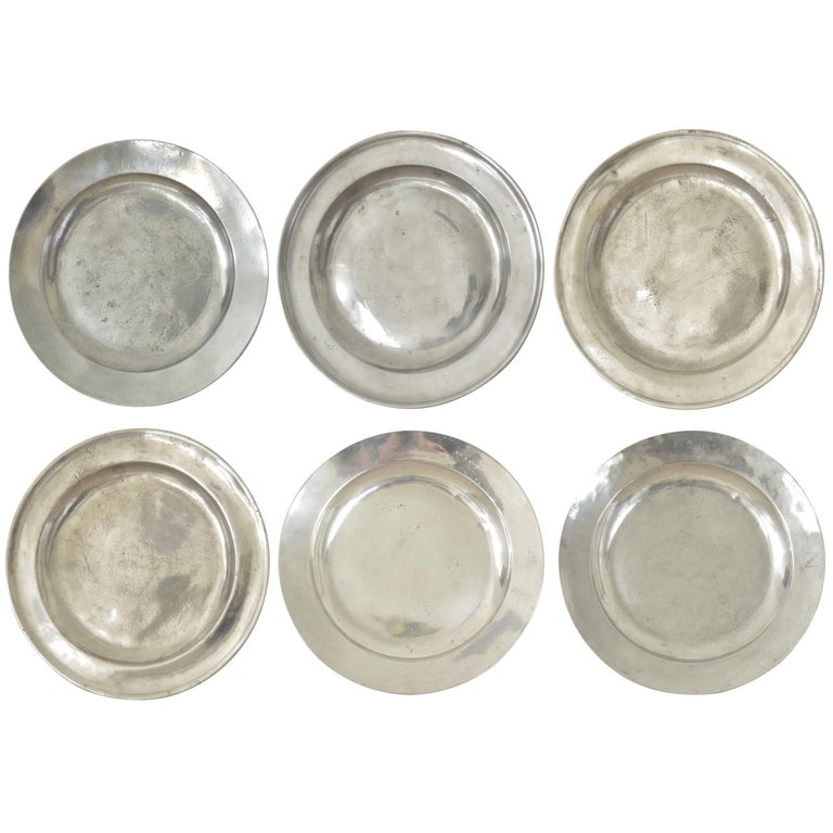 Group of 6 Large Antique Polished Pewter Chargers, 18th C.  16.5 inches wide For Sale
