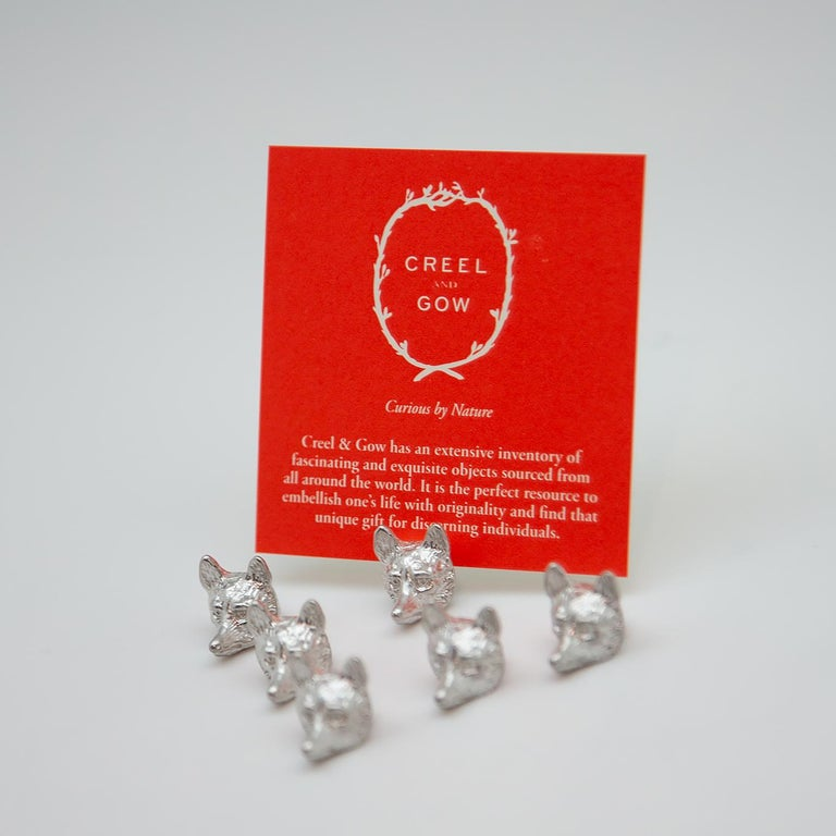 Group of 6 sterling fox head place card holders created with lost wax method and made of solid sterling silver. ~ 1/2