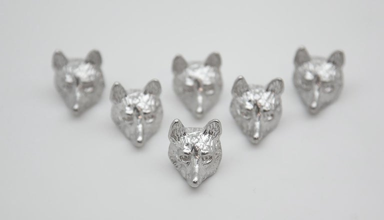 English Group of 6 Sterling Fox Head Place Card Holders For Sale