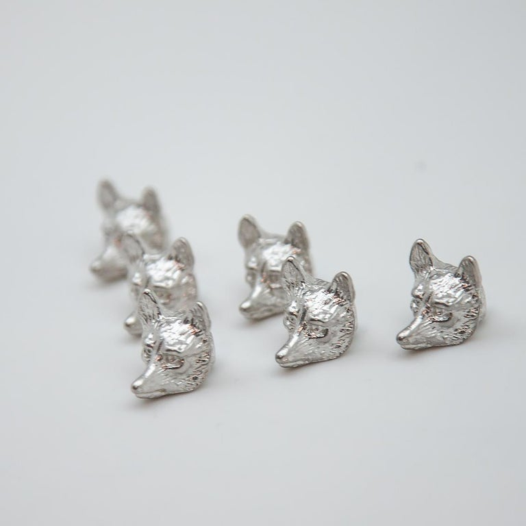 Group of 6 Sterling Fox Head Place Card Holders In Excellent Condition For Sale In New York, NY
