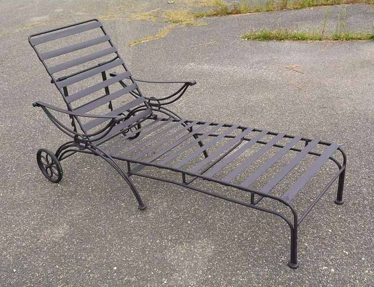 Group of 7 Metal Garden Dining Chairs and Chaise Lounge For Sale 4