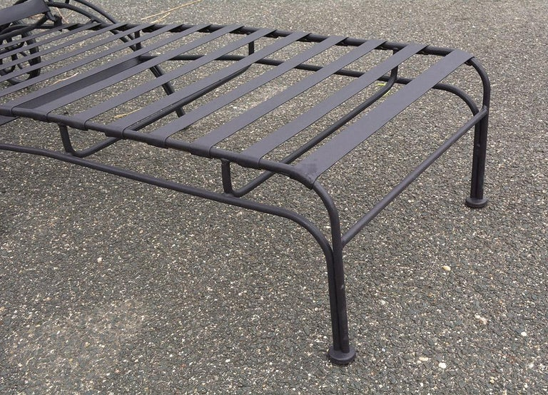Group of 7 Metal Garden Dining Chairs and Chaise Lounge For Sale 7