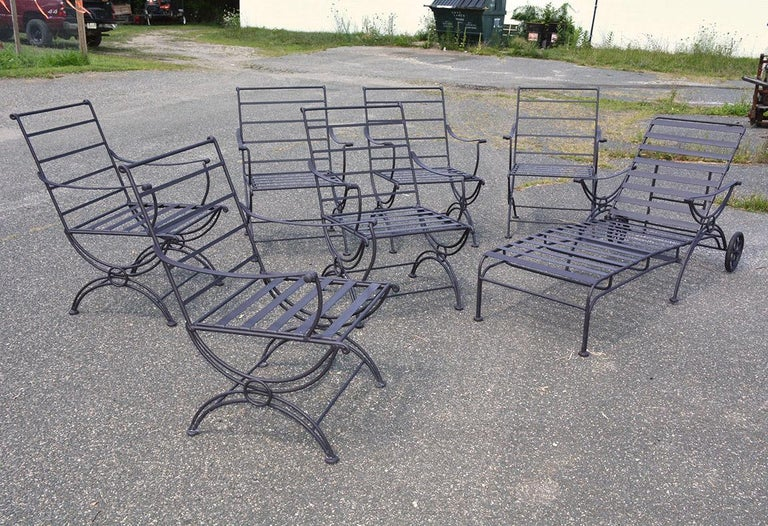 Set includes 6 arm chairs and 1 chaise lounge. Seats and back have flexible black straps for added comfort. Chaise lounge has wheels. Chairs approx 34.5 inches in height, 21 inches in width, 20 inches in depth. Chairs can be purchase without the