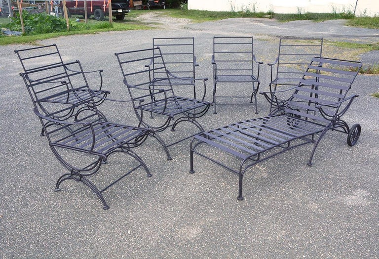 Hollywood Regency Group of 7 Metal Garden Dining Chairs and Chaise Lounge For Sale
