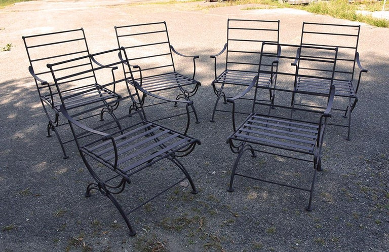 American Group of 7 Metal Garden Dining Chairs and Chaise Lounge For Sale
