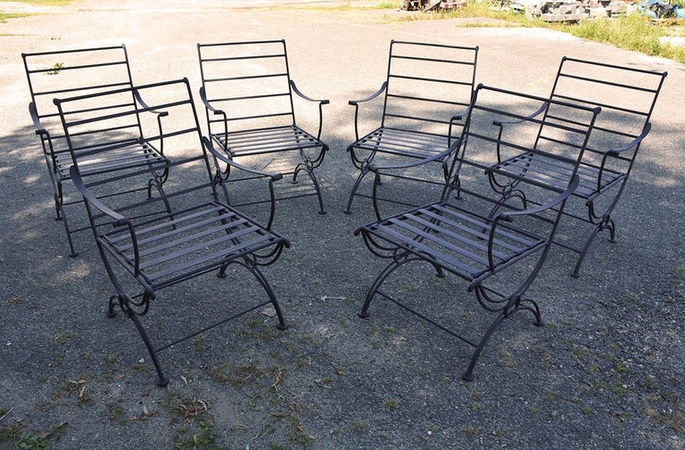 Group of 7 Metal Garden Dining Chairs and Chaise Lounge In Distressed Condition For Sale In Great Barrington, MA