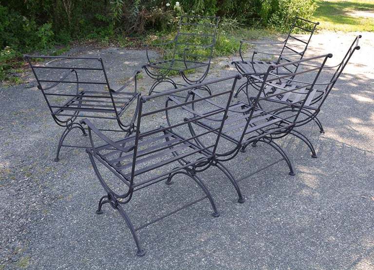 20th Century Group of 7 Metal Garden Dining Chairs and Chaise Lounge For Sale
