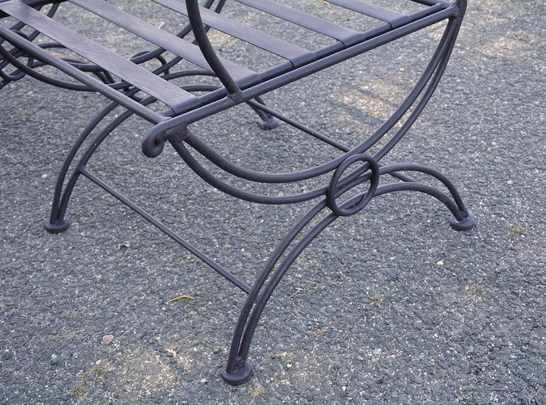 Group of 7 Metal Garden Dining Chairs and Chaise Lounge For Sale 1