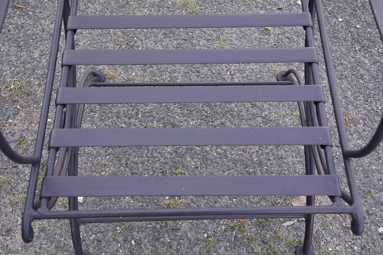 Group of 7 Metal Garden Dining Chairs and Chaise Lounge For Sale 2