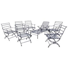 Group of 7-- 6 Metal Garden Dining Chairs and 1 Chaise Lounge