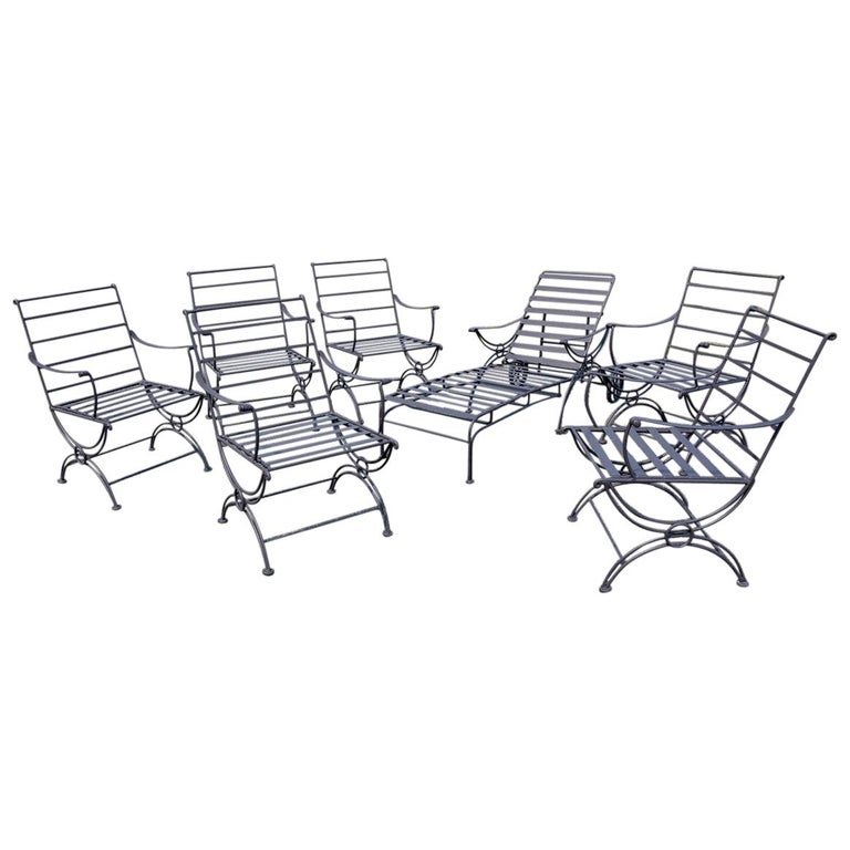 Group of 7 Metal Garden Dining Chairs and Chaise Lounge For Sale