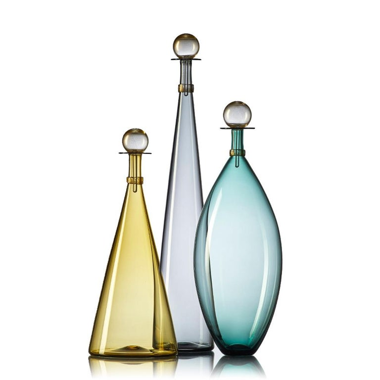 Group of 7 Modernist Hand Blown Glass Bottle Vases in Smoky Colors by Vetro Vero For Sale 3